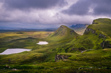 Quiraing trail view from a cliff on Isle of Sky, Hebrides, Scotland