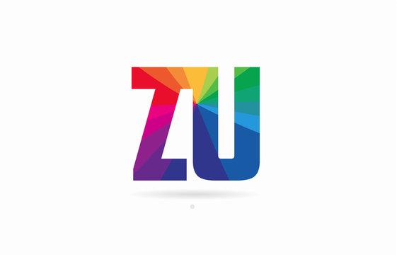 rainbow colored alphabet combination letter zu z u logo design