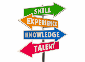 Skill Experience Knowledge Talent Best Candidate Arrow Signs 3d Illustration