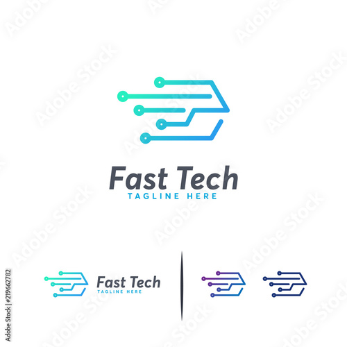 Fast Tech logo designs concept vector, Express logo template