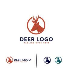 Simple Deer Head Logo designs concept vector, Deer Hunt logo symbol template