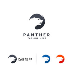 Simple Black Panther logo designs vector, Tiger Head logo symbol template