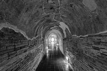 Unseen Thailand the old tunnel of Wat Umong Suan Puthatham temple in Chiang Mai, Thailand