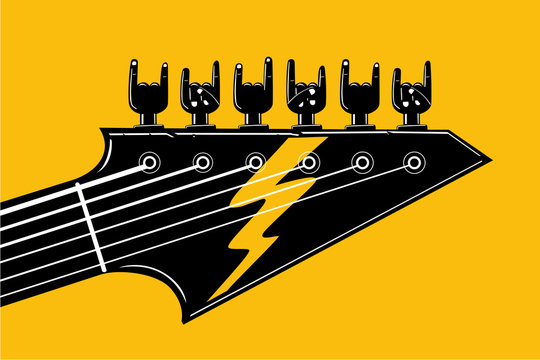 Rock and Roll. Indie festival and party template. Hardrock music poster with guitar and human hand. Vector illustration for heavy metal fans.