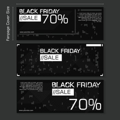 Black friday sale for social media fanpage banner cover size template. Black friday Hacker background template design style