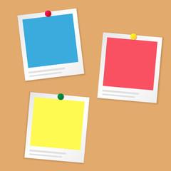 Paper Photo frame on brown  information board or cockboard