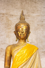 old golden buddha in wat intraram samutsongkram