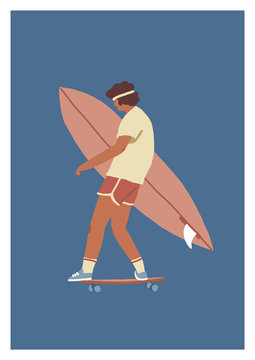 Boy skateboarder ride a skateboard carry surfboard