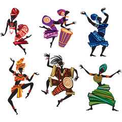 Dancing people in traditional ethnic style