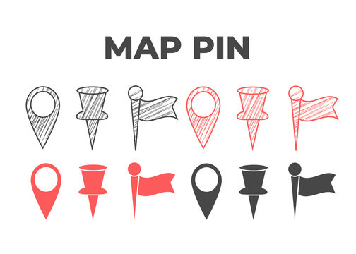 Hand drawn map pin. Doodle pin map vector icon