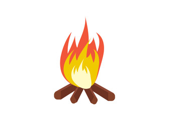 Vector cartoon bonfire. Fire camp. Campfire cartoon illustration