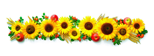 Autumn or Thanksgiving background with sunflowers, apples, wheat and rose hips