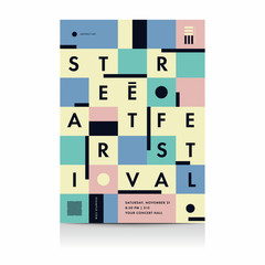 Festival poster layout with typography. Vector illustrations.