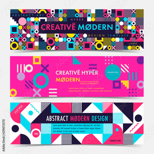 set of banner template with geometric shapes and patterns 80s memphis geometric style vector