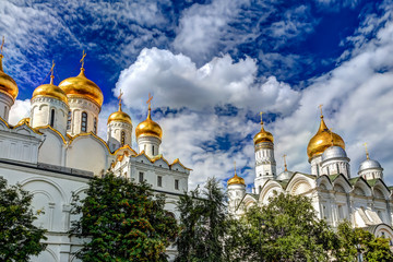 Iconic Cathedral Domes of the Kremlin in Moscow