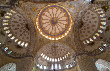 Interior of  Sultanahmet mosque (Blue mosque) in Istanbul, Turkey.