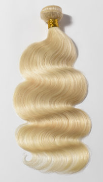 Body wavy bleached blonde human hair weaves extensions bundle