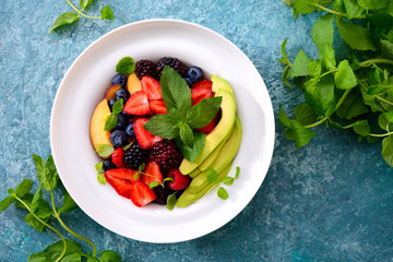 Summer fruit and berries salad