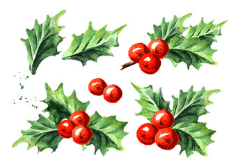 Christmas and New Year symbol decorative Holly berry set. Watercolor hand drawn illustration, isolated on white background