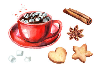 Red Cup of hot chocolate with marshmallow, cinnamon stick and star anise and Christmas cookies set. Watercolor hand drawn illustration isolated on white background