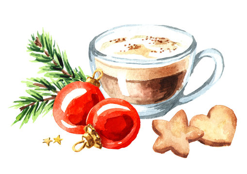 Cup of coffee cappuccino with Christmas cookies and red balls with green fir branch. Watercolor hand drawn illustration isolated on white background