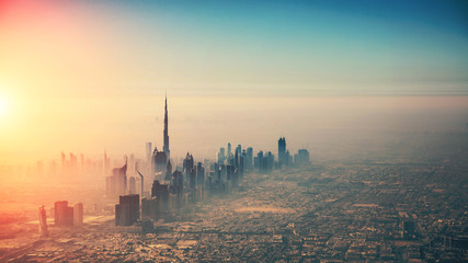Spoed Fotobehang Dubai Aerial view of Dubai city in sunset light