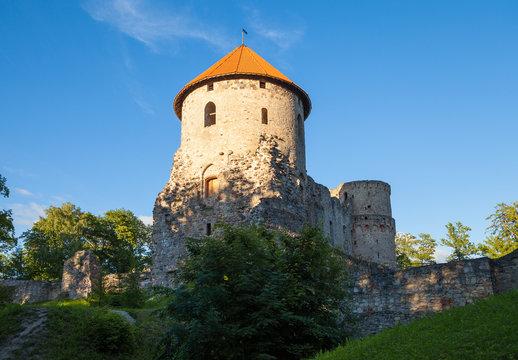 Ruins of Cesis castle at sunset, Latvia. Summer season.