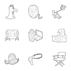 Movie icons set. Outline set of 9 movie vector icons for web isolated on white background