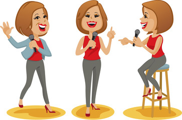 Attractive, smiling female comedian in three poses