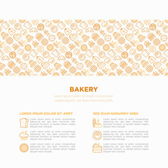 Bakery concept with thin line icons: toast bread, pancakes, flour, croissant, donut, pretzel, cookies, gingerbread man, cupcake, burger, pizza, waffle. Modern vector illustration, print media template