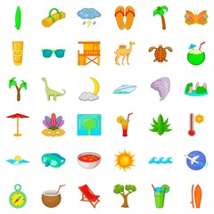 Tropic icons set. Cartoon style of 36 tropic vector icons for web isolated on white background