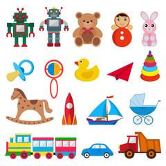 set of children`s toys on white background