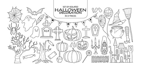 Set of Halloween decoration in 37 pieces.