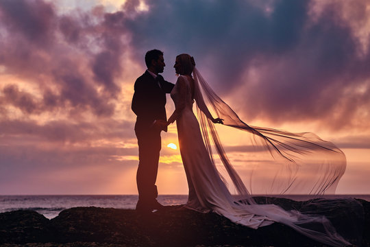 Wedding couple holds each other hands standing on the beach against the amazing sunset.