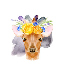 Watercolor bohemian baby deer animal vector illustration with floral crown for kindergarten, woodland nursery, decoration forest illustration. Hand drawn boho poster of romantic deer for children.