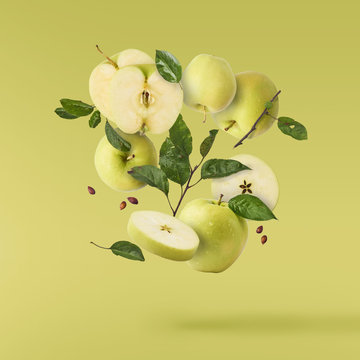 fresh apple Flying in air over background