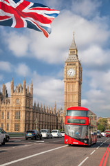 Wall Mural - Big Ben with red bus in London, England, UK
