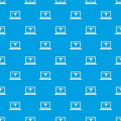 Laptop with 3D design pattern repeat seamless in blue color for any design. Vector geometric illustration