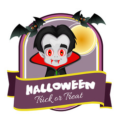 halloween badge with vampire cartoon