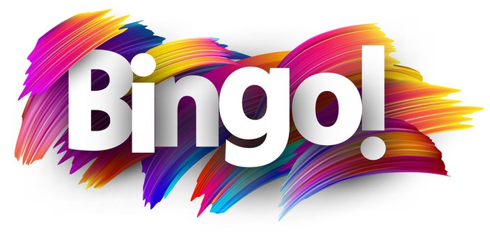 Bingo card with colorful brush strokes.