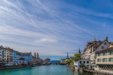 Aerial view of Zurich and Limmat river, Switzerland