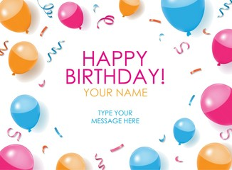 Happy Birthday Card with balloons, confettis, and white background. Editable poster. Vector