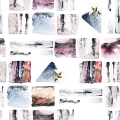 Abstract  background with geometric elements. Watercolor  seamless pattern. Hand drawn marble illustration