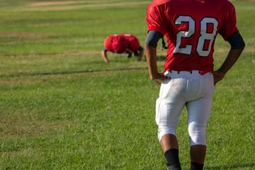 Football Player doing Push up