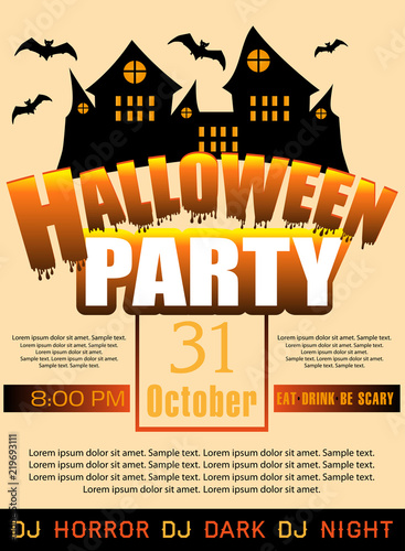 halloween party template invitation or poster and banner vector