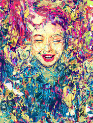 """Illustration for the fool's day. Art. Girl. Face. Picture For Interior. """"Endless Happiness"""". Modern Art. Contemporary digital art. Smile. Expressionism. Canvas. 01 april."""