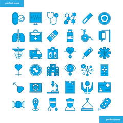 Medical and Healthcare  Blue Icons set style