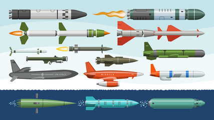 Missile vector military missilery rocket weapon and ballistic nuclear bomb illustration militarily set of rocket-propelled warhead isolated on background
