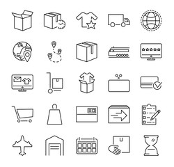 Order fulfillment vector illustration icon collection set. Outlined pictorgrams about online shopping, delivery service, goods packaging and purchase from storehouse.