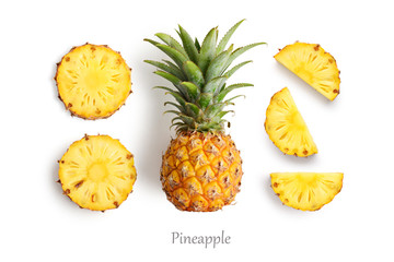 Fresh whole and cut pineapple
